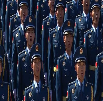 抗战胜利70周年阅兵军乐团、合唱团奏唱歌曲