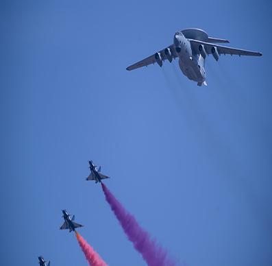 阅兵空中梯队:战机拉彩烟