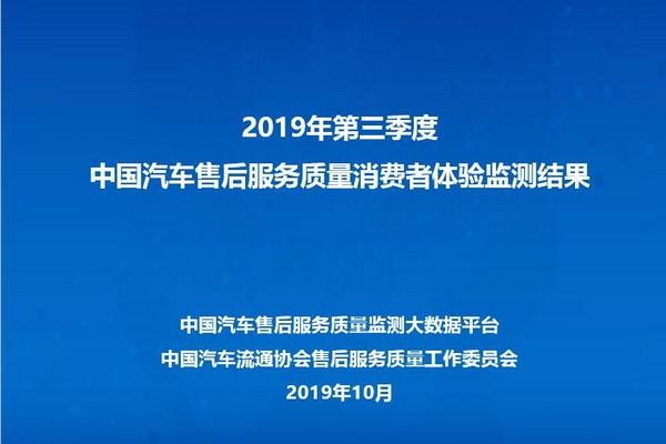 2019中国汽车售后服务质量消费者体验第三季度报